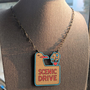 San Francisco 49 Mile Scenic Drive Sign Necklace - Large