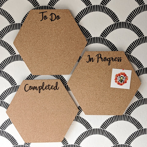 To Do In Progress Completed Hexagon Cork Board Set of 3