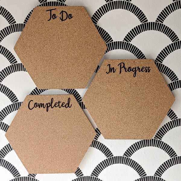 To Do In Progress Completed Hexagon Cork Board - Set of 3