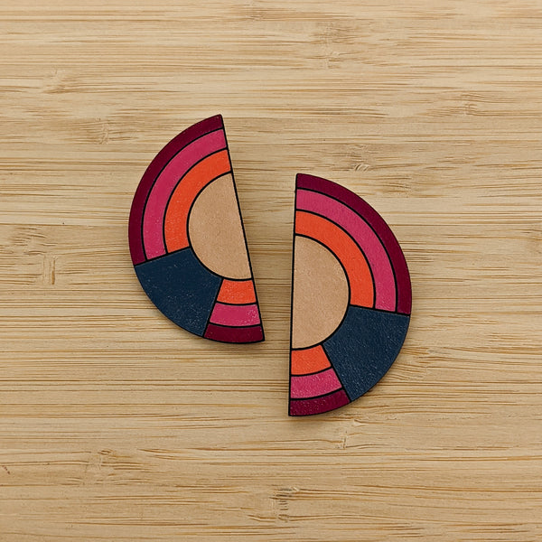 Painted Leather Semi Circle Earrings