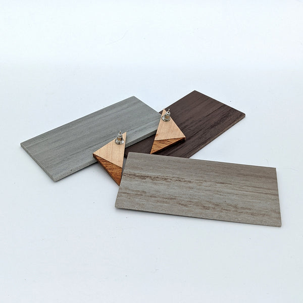 Two Tone Wood Triangle Earrings - Small