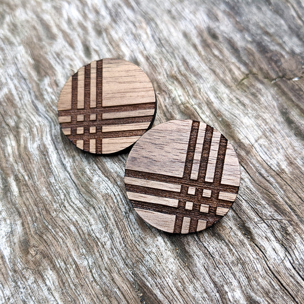 Plaid Wood Circle Earrings