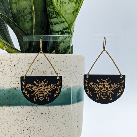 Gold Honey Bee Matte Black Acrylic and Brass Earrings