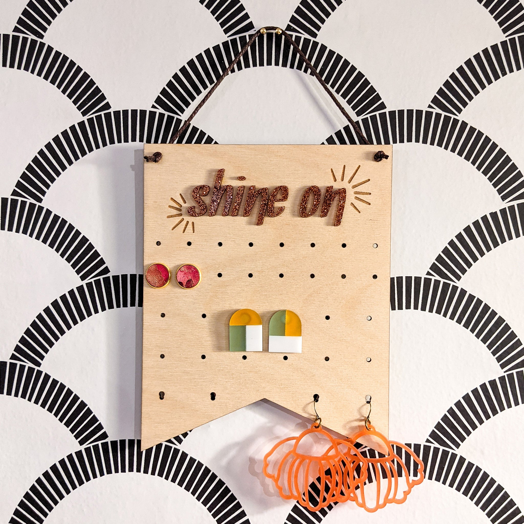 'Shine On' Wood and Acrylic Pennant Banner Wall Hanging Earring Holder