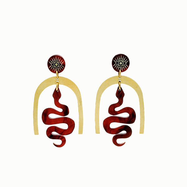 faux tortoise shell acrylic and brass snake and mystic eye earrings