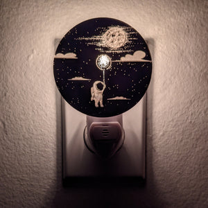 Astronaut, Balloon and Moon Bronze Mirror Acrylic Night Light