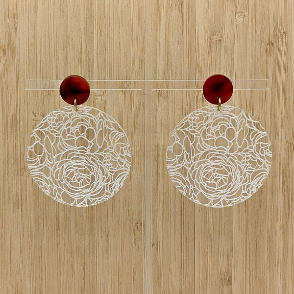 Clear Acrylic Peonies Earrings - Large