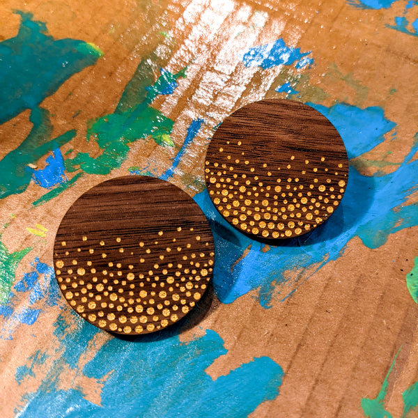 Gold Confetti Walnut Circle Earrings