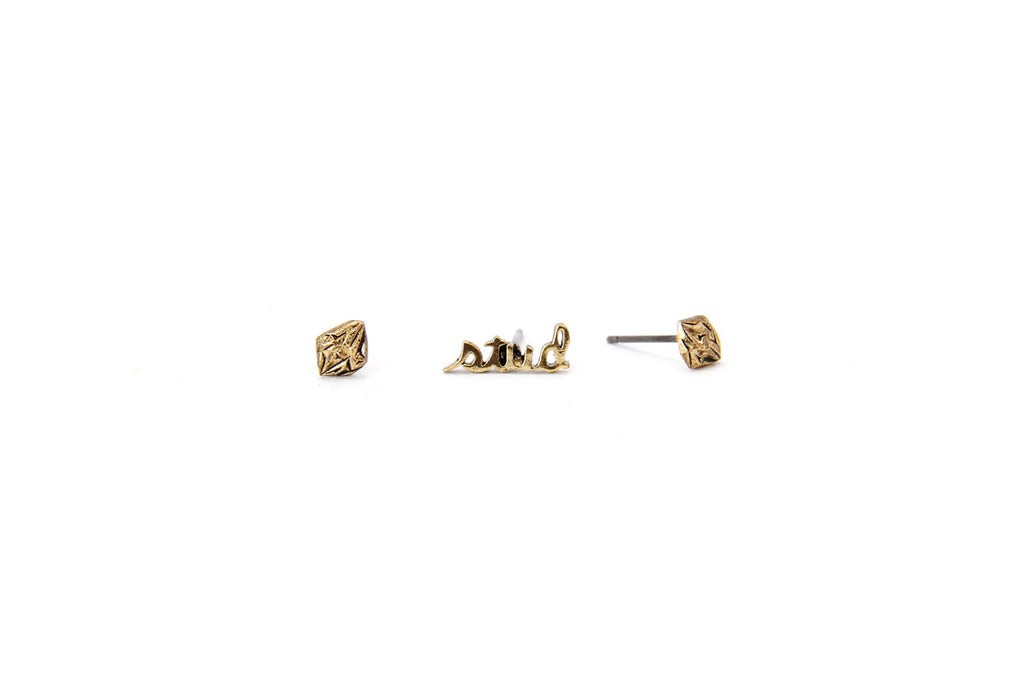 Geo Diamond Stud Earrings
