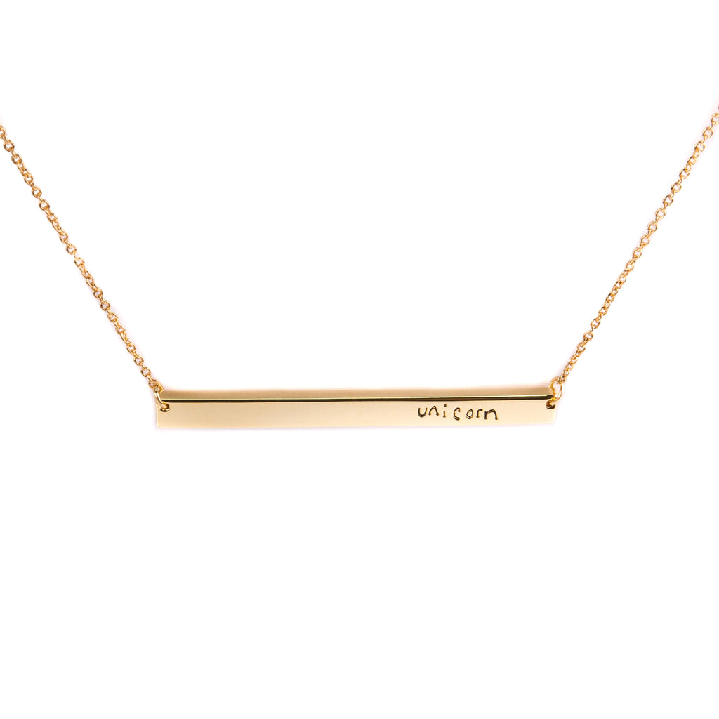 Positive Motto Nameplate Necklace