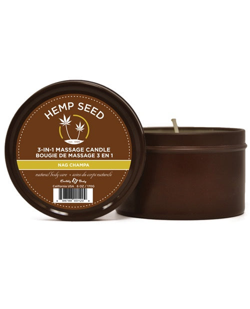 Earthly Body Suntouched Hemp Candle - 6 oz Round Tin Nag Champa