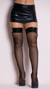 Stay up fishnet stockings with vinyl top
