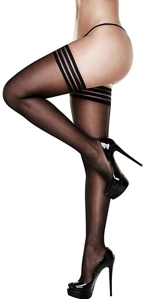 Striped Top Sheer Thigh High Stockings Black O/S