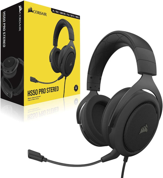 Audifonos Corsair HS50 Pro Headset, 3.5 CARBON PC / Xbox one / PS4