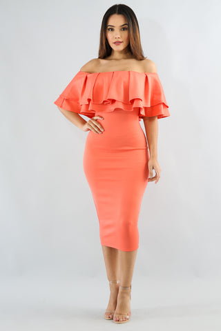 Coral Off Shoulder Midi Dress