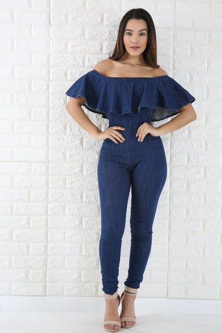 Denim Off Shoulder Jumpsuit