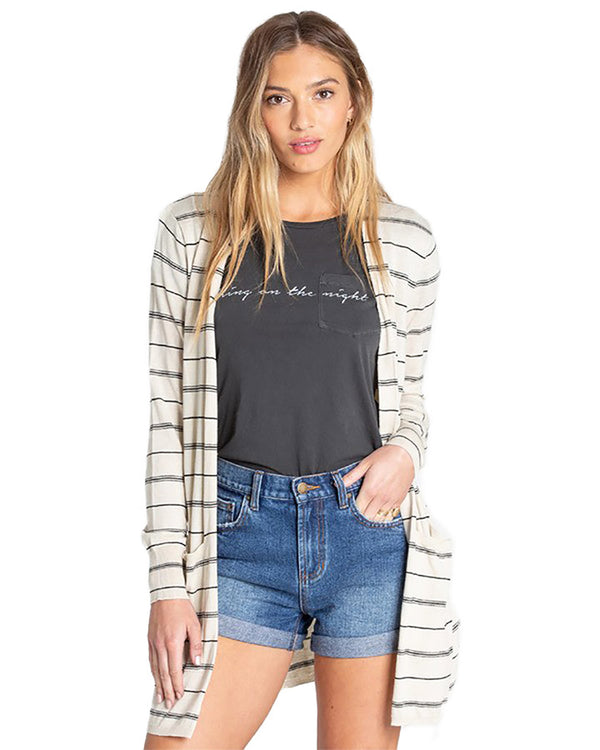 Billabong Women's Worth It Long Cardigan Cool Whip