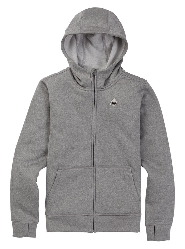 Burton Kids' Oak Full-Zip Hoodie Gray Heather 2021