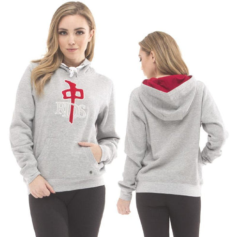 RDS Women's Og Chenille Hood Heather Grey Red