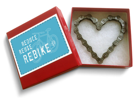 Recycled Bike Chain Heart eco friendly gift idea