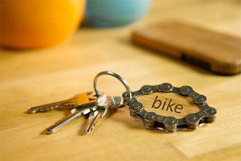 Eco-friendly unique handmade recycled bike chain keychain
