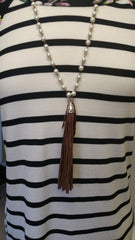 Pearl arrow tassel necklace