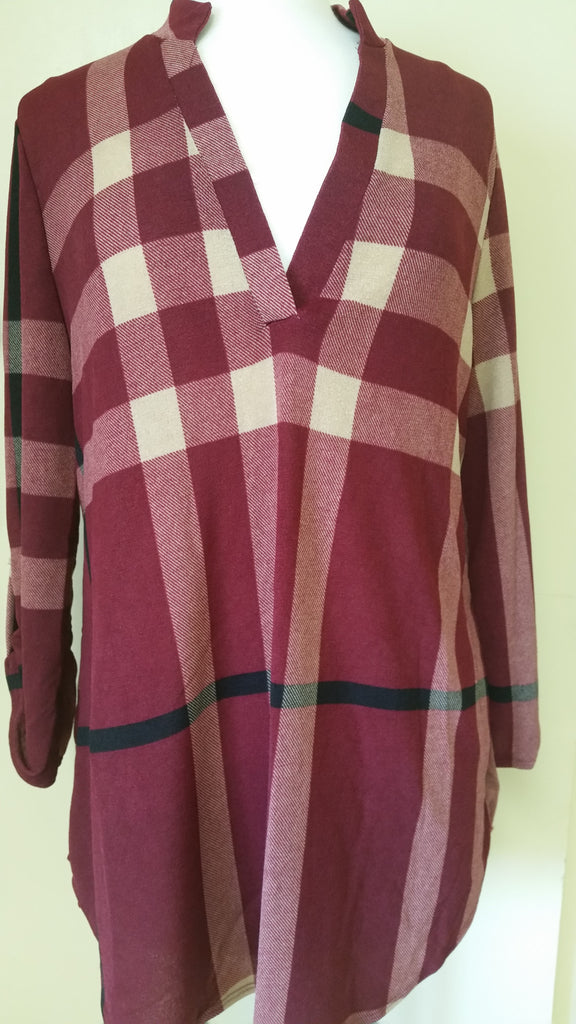 Burgundy plaid tunic plus