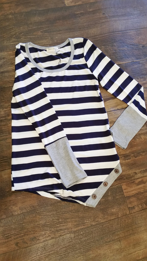 Heather stripes navy top