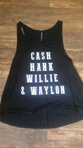 Cash, Hank,  Willie and Waylan tank