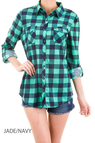 Green and navy plaid shirt