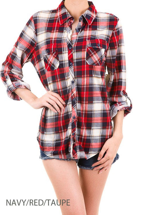 Navy and red plaid shirt