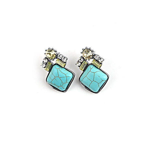 Turquoise and crystal stud earrings