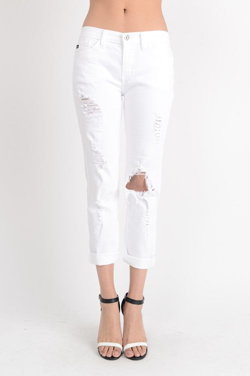White shredded boyfriend jeans