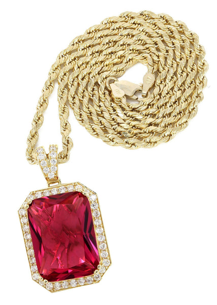 10 Ct Yellow Gold Rope Chain & Cz Ruby Pendant | Appx. 22 Grams