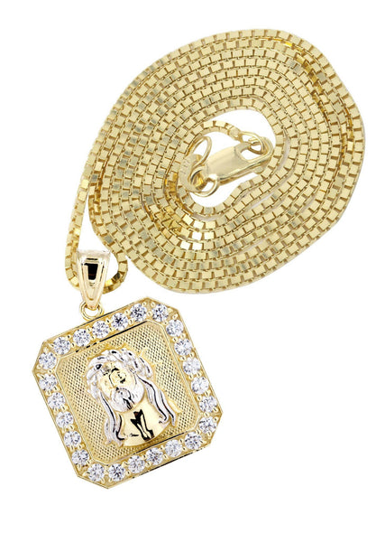 10 Ct Yellow Gold Box Chain & Jesus Piece Chain | Appx. 7.1 Grams