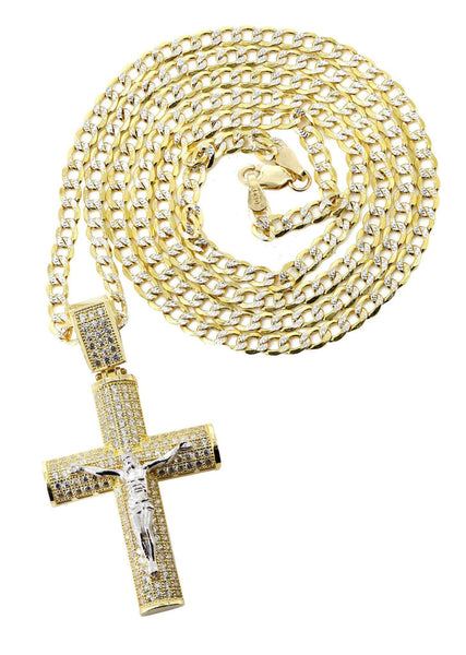10 Ct Yellow Gold Pave Cuban Chain & Cz Gold Cross Necklace | Appx. 10.4 Grams