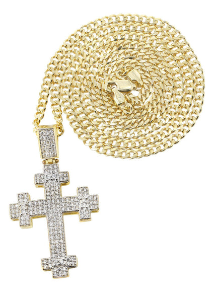 10 Ct Yellow Gold Cuban Chain & Cz Gold Cross Necklace | Appx. 16.8 Grams