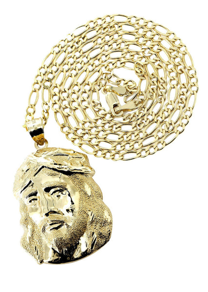 10 Ct Yellow Gold Figaro Chain & Jesus Piece Chain | Appx. 9.6 Grams