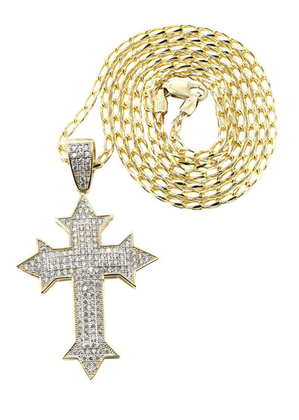 10 Ct Yellow Gold Fancy Link Chain & Cz Gold Cross Necklace | Appx. 13.5 Grams