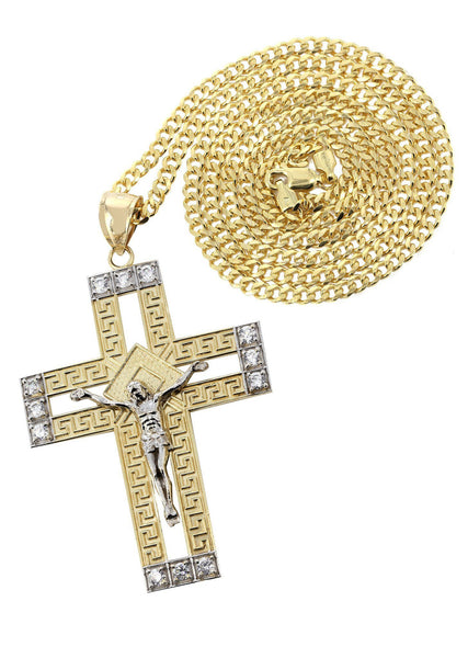 10 Ct Yellow Gold Cuban Chain & Cz Gold Cross Necklace | Appx. 20.8 Grams