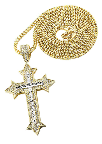 10 Ct Yellow Gold Franco Chain & Cz Gold Cross Necklace | Appx. 14.7 Grams