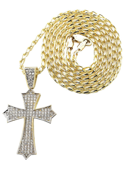 10 Ct Yellow Gold Fancy Link Chain & Cz Gold Cross Necklace | Appx. 12.3 Grams