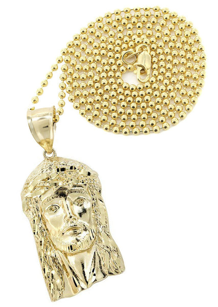 10 Ct Yellow Gold Dog Tag Chain &  Jesus Piece Chain | Appx. 8.2 Grams