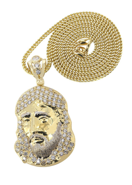 10 Ct Yellow Gold Pave Cuban Chain & Cz Jesus Piece Chain | Appx. 18.7 Grams