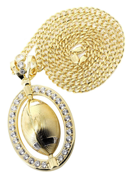 10 Ct Yellow Gold Cuban Chain & Cz Football Pendant | Appx. 43.1 Grams