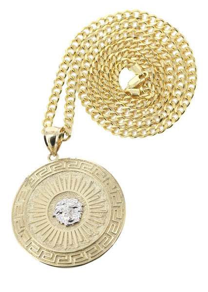 10 Ct Yellow Gold Cuban Chain & Versace Style Pendant | Appx. 28.6 Grams