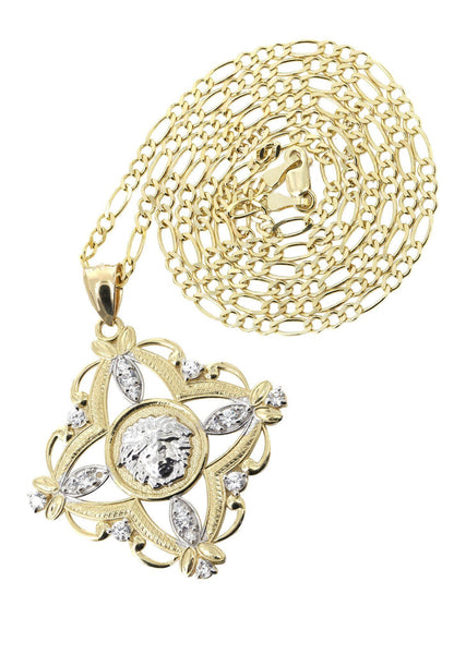 10 Ct Yellow Gold Figaro Chain & Versace Style Pendant | Appx. 11.5 Grams