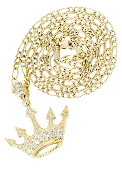 10 Ct Yellow Gold Figaro Chain & Cz Crown Pendant | Appx. 8.2 Grams