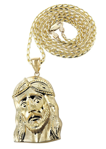 10 Ct Yellow Gold Fancy Link Chain & Jesus Piece Chain | Appx. 15.2 Grams