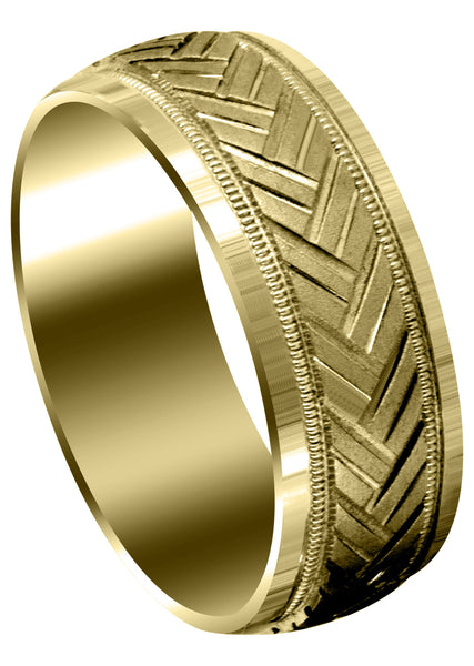 Yellow Gold Fancy Carved Contemporary Mens Wedding Band | High Polish Finish (Hunter)